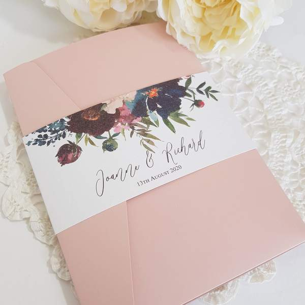 blush pocketfold invitation with flowers