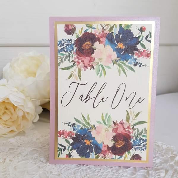 burgundy and blush wedding table name