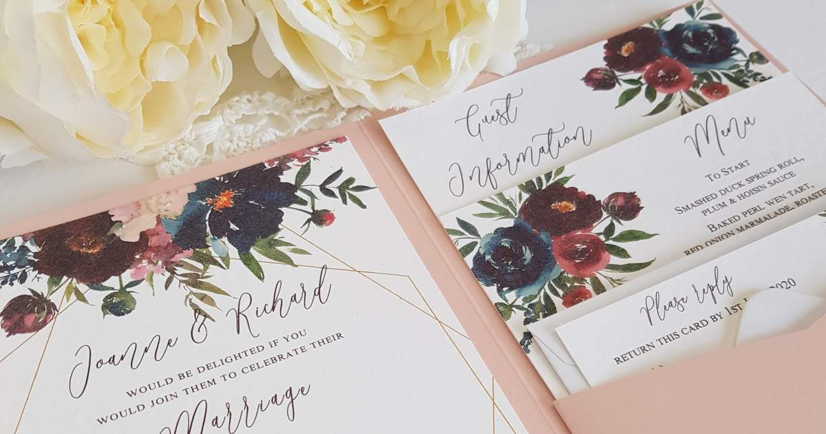 burgundy and navy floral handmade eco friendly wedding invitations