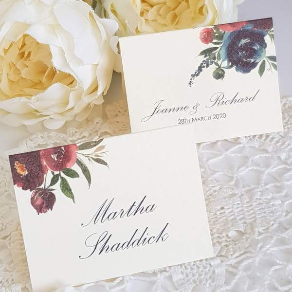 burgundy wine and navy floral wedding place cards