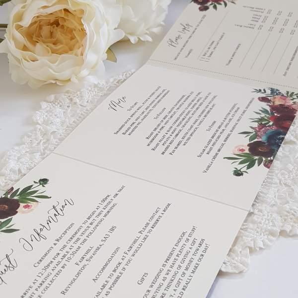 concertina handmade invitation with burgundy flowers