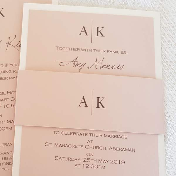 pink and ivory wedding invitation with modern wording details