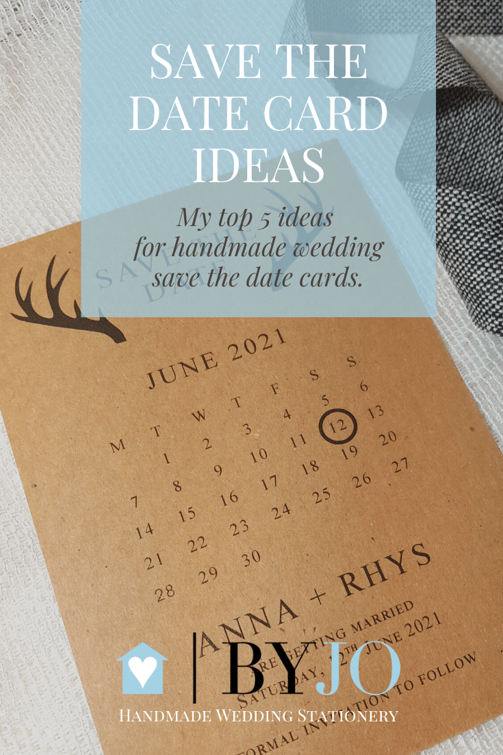 rustic kraft save the date card with stag antlers design