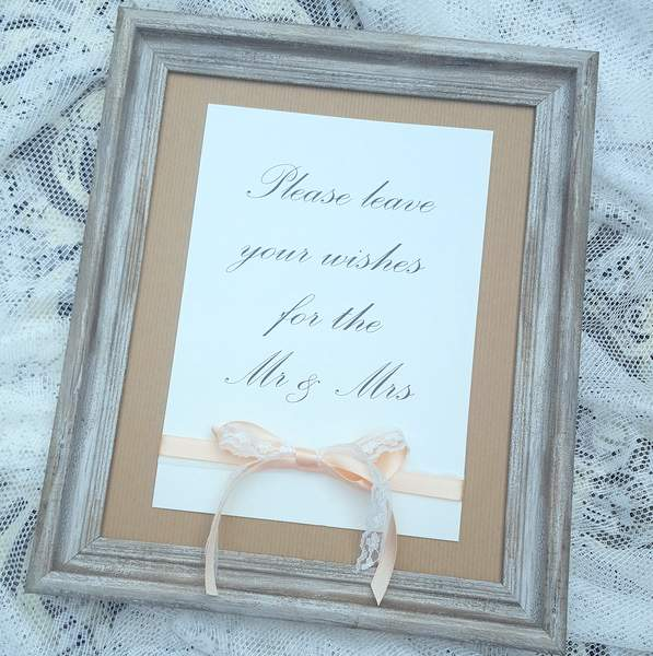 rustic lace and kraft wedding guest book sign