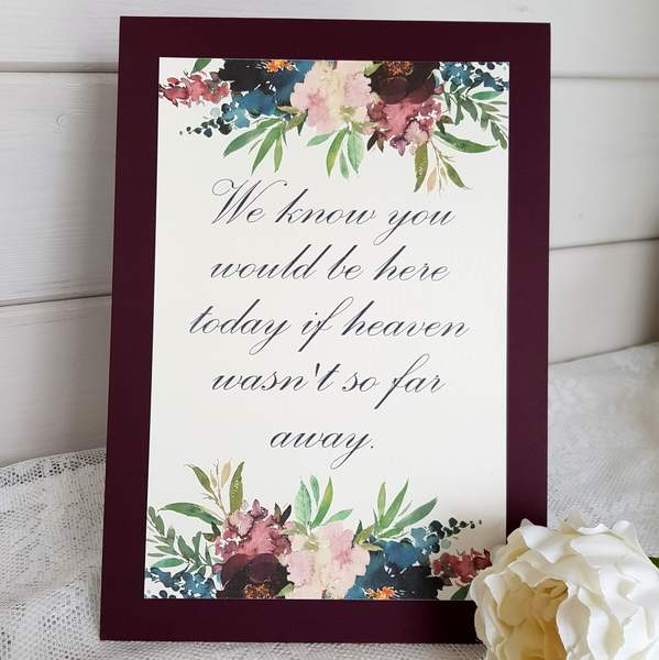 wedding memory sign with blue and burgundy flowers