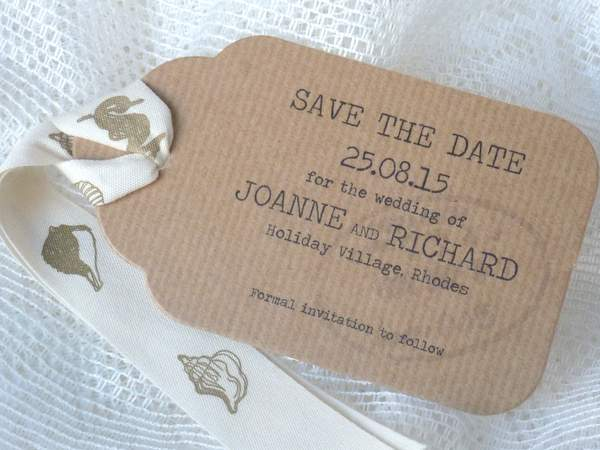 luggage tag shaped wedding save the date card