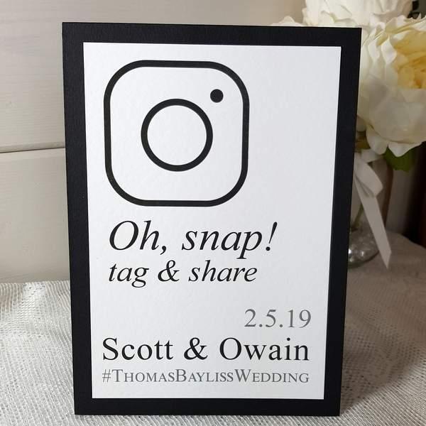 black and white wedding instagram hashtag sign