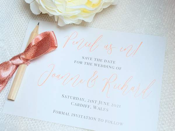 pencil us in handmade save the date card