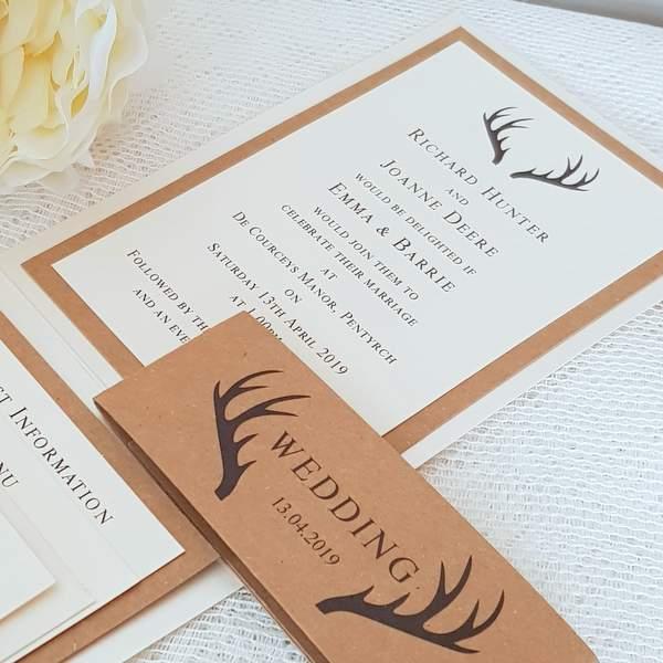stag design wedding invitations showing wedding invitation details