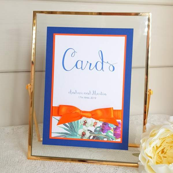 tropical themed bespoke wedding cards sign
