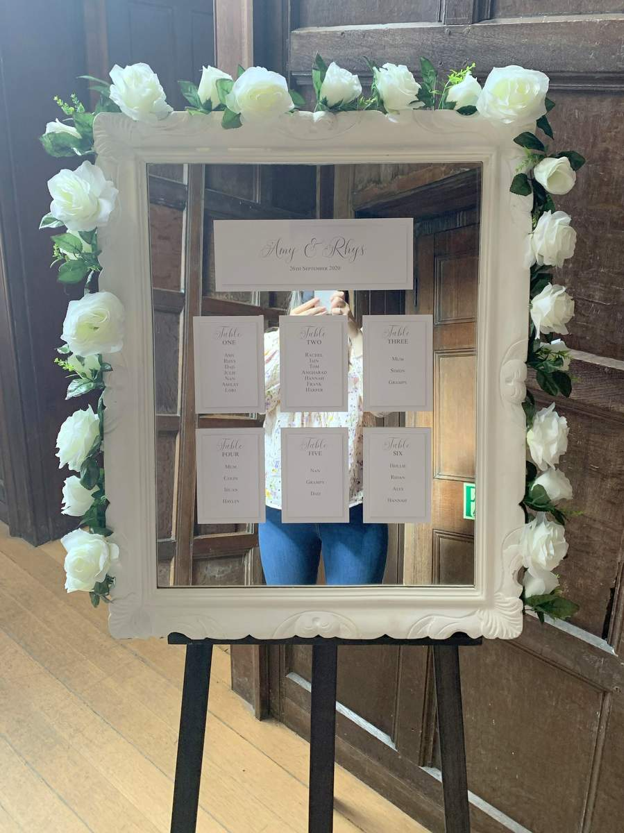 Bespoke mirror table plan for a Cardiff micro wedding
