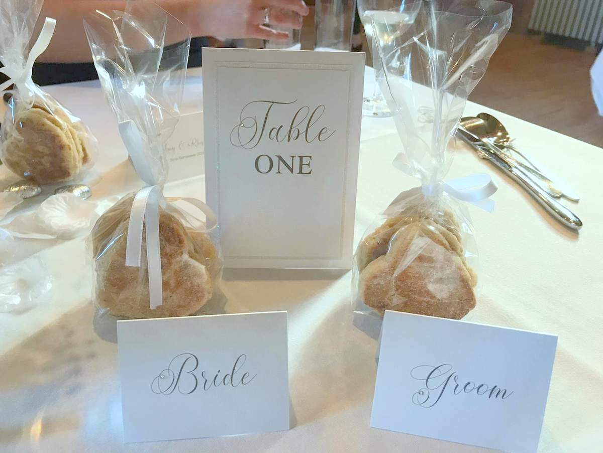 Micro wedding stationery for the reception table, white place cards and matching table number card