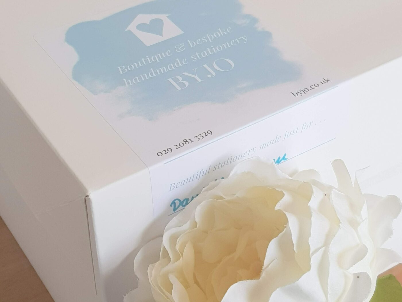 Wedding stationery boxed and ready for collection from the studio