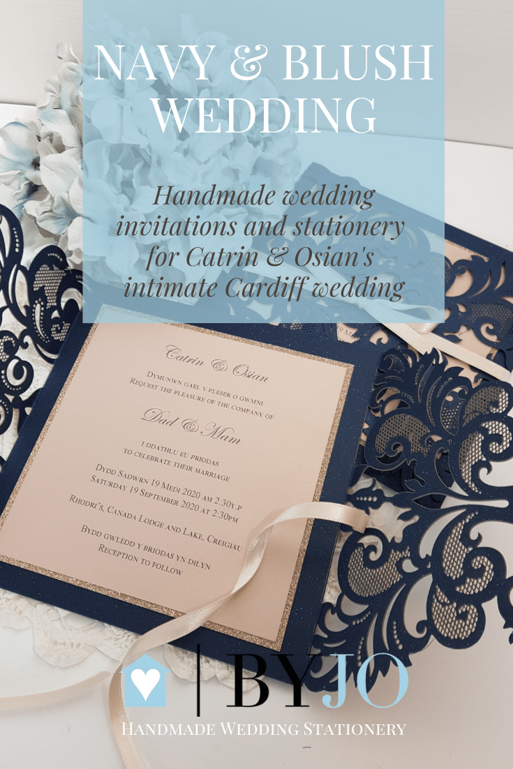 navy and blush laser cut wedding invitation