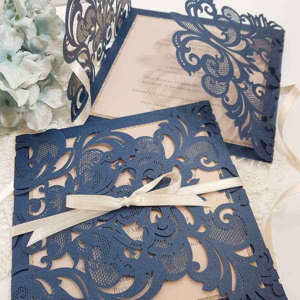 Navy blue and pink handmade wedding invitations