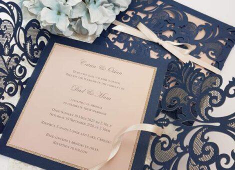 navy bilingual handmade wedding invites