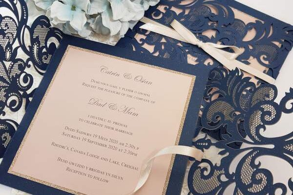 navy bilingual handmade wedding invites