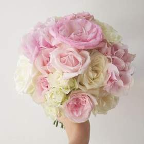Pretty pink and cream bridal posy