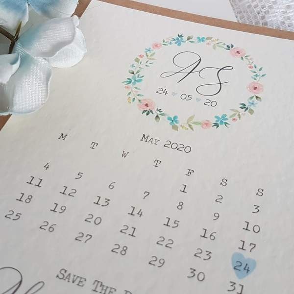 rustic floral save the date card with calendar design