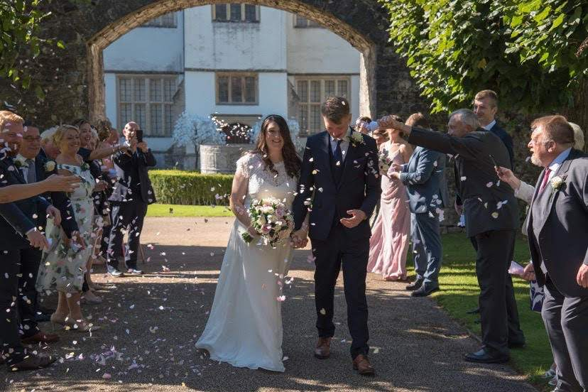 St Fagans Castle Cardiff micro wedding, a happy couple