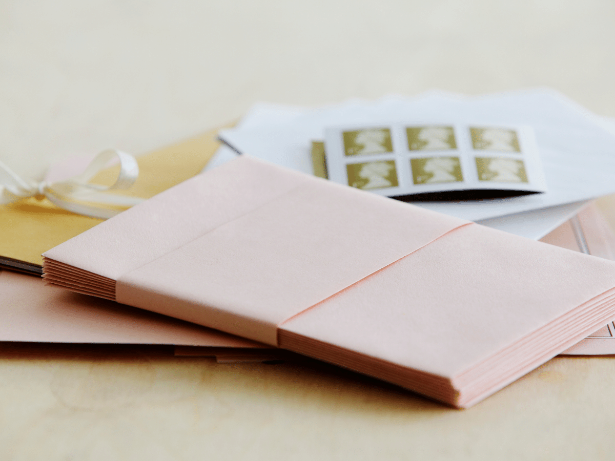 wedding invitation envelopes with stamps