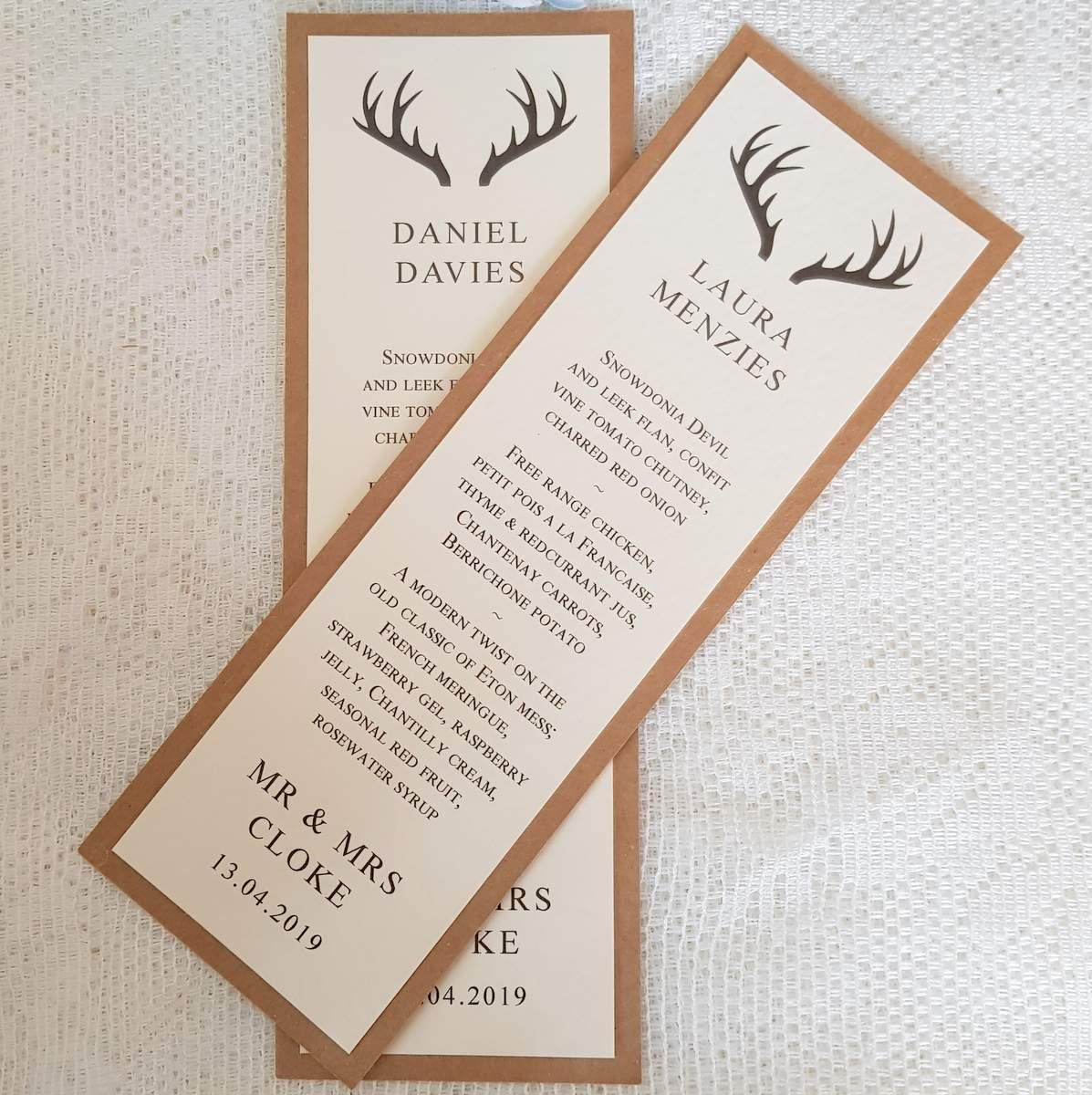 stag personalised wedding menu card