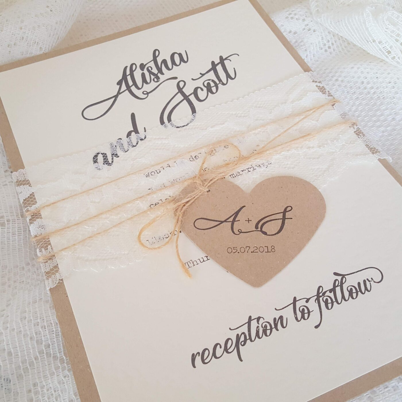 kraft, lace and twine handmade wedding invitation