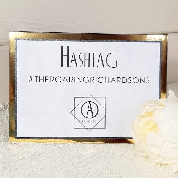 personalised wedding hashtag sign