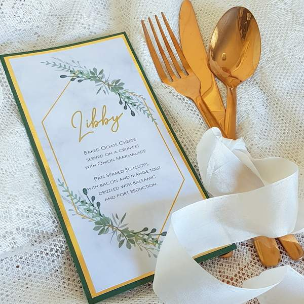 personalised wedding menu with green and gold design
