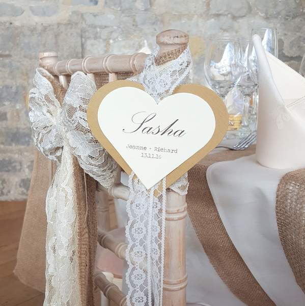 rustic hanging chair heart place card with lace