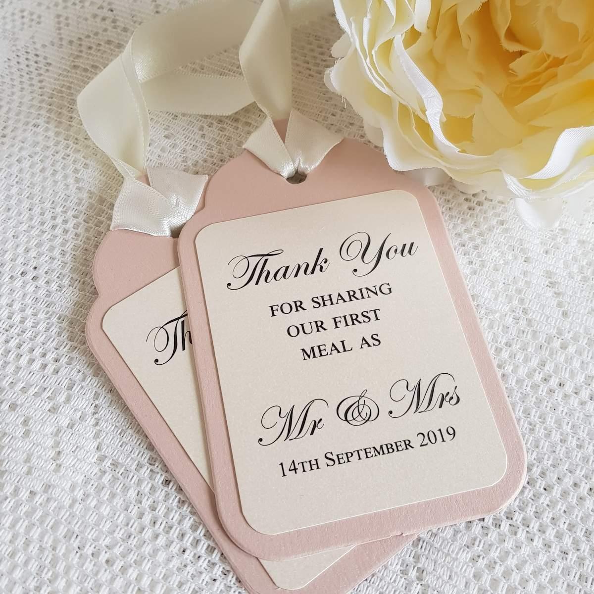 personalised handmade wedding thank you tags
