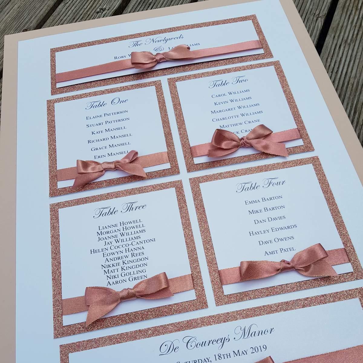 handmade table plan for a small wedding