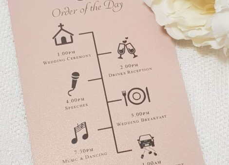blush pink wedding order of the day timeline