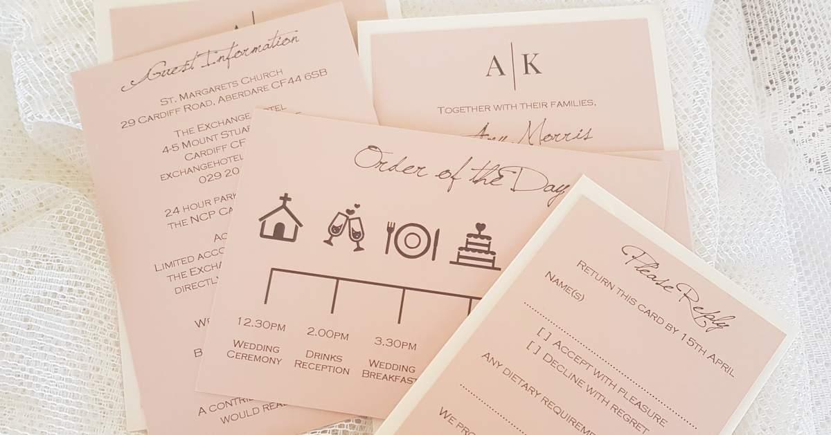 blush pink wedding rsvp and guest details cards