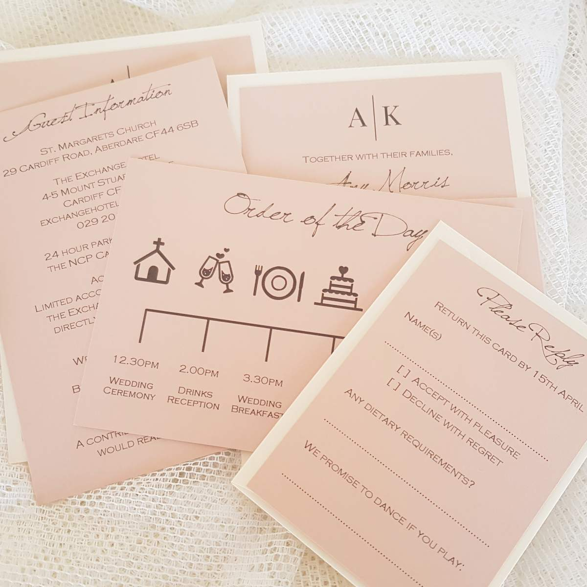 blush wedding invitation with an order of the day timeline