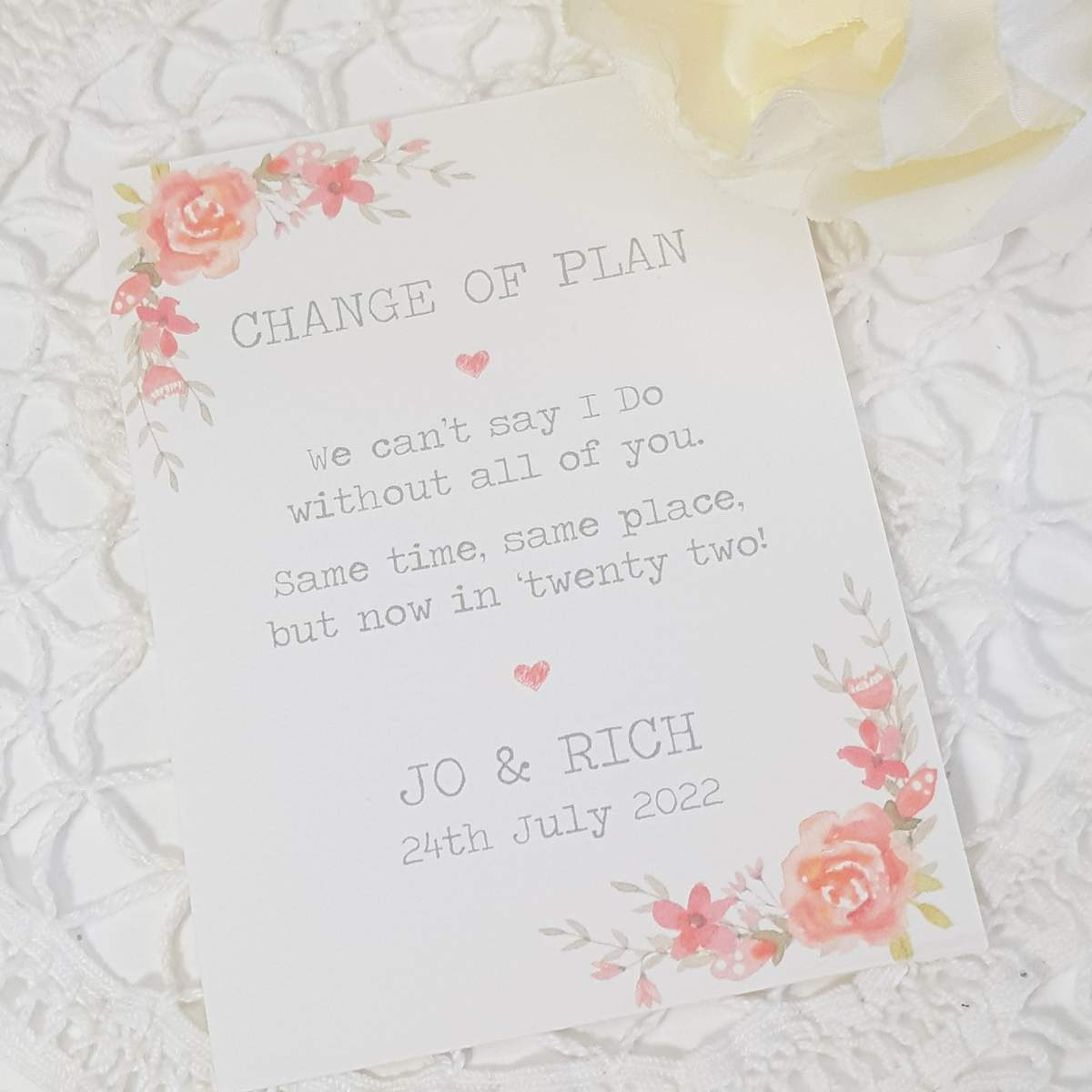 change the date card with pink flowers