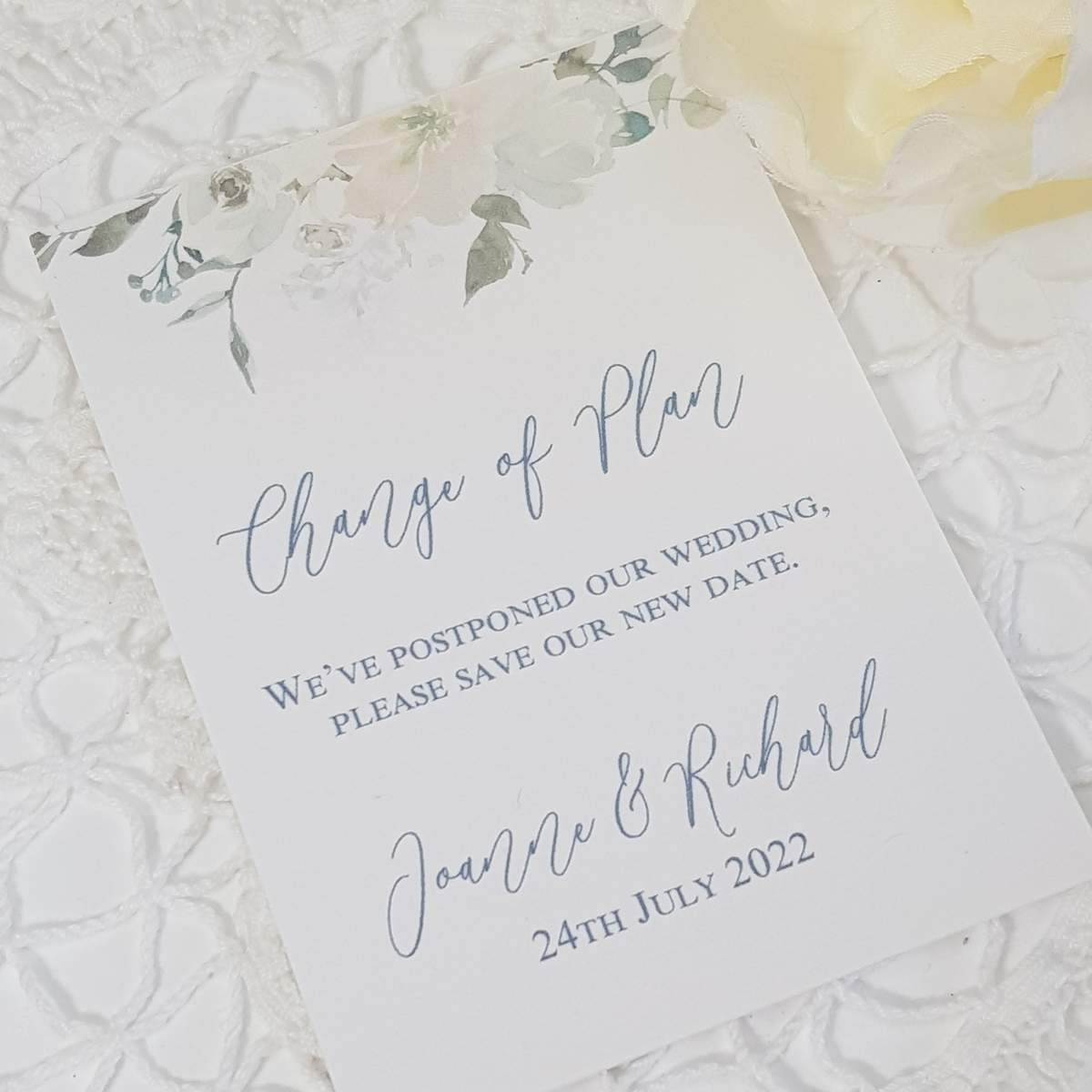white floral change the date card