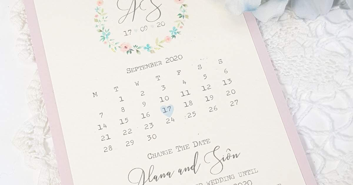 Pretty pastel coloured change the date card