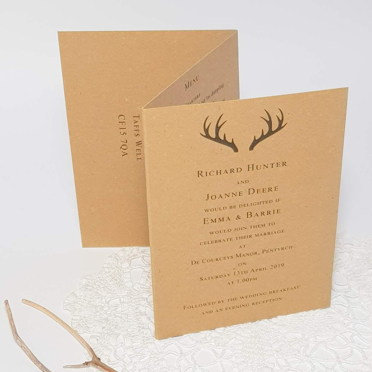 recycled card concertina invitation with antlers design