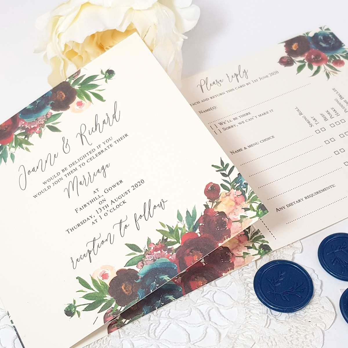 floral concertina wedding invitation