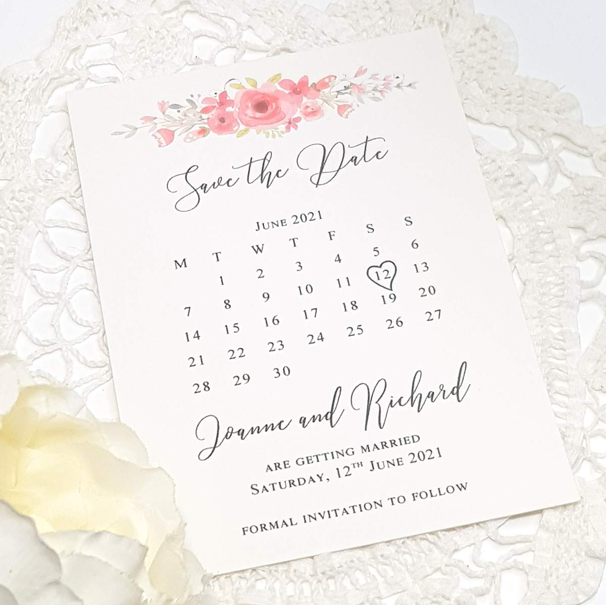 coral floral wedding save the date card