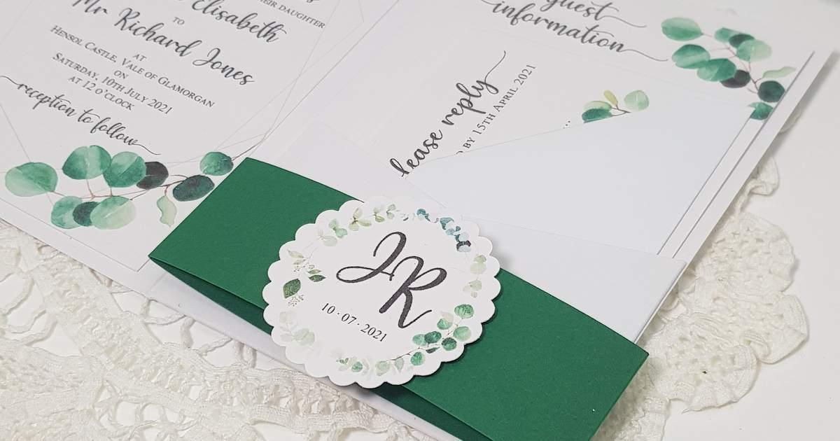 eucalyptus pocketfold wedding invitation bellyband