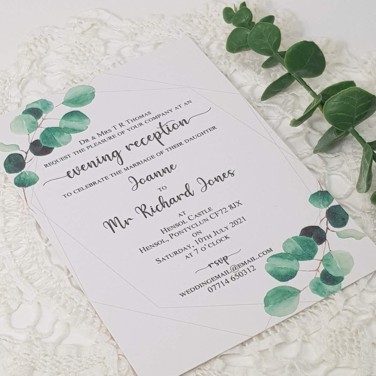 eucalyptus evening wedding invitation