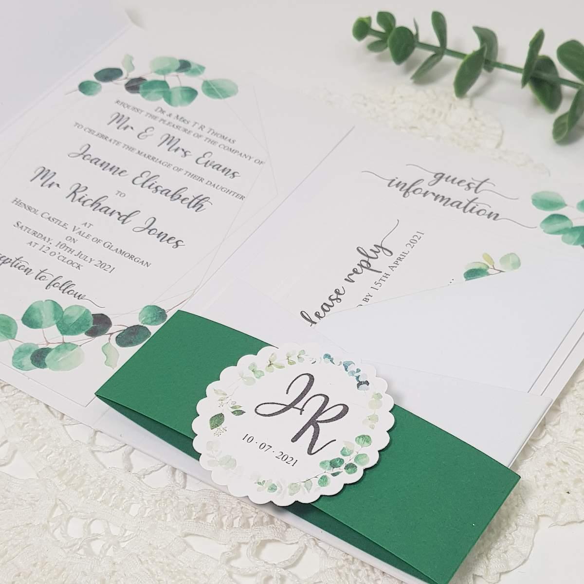 eucalyptus wedding invite inserts