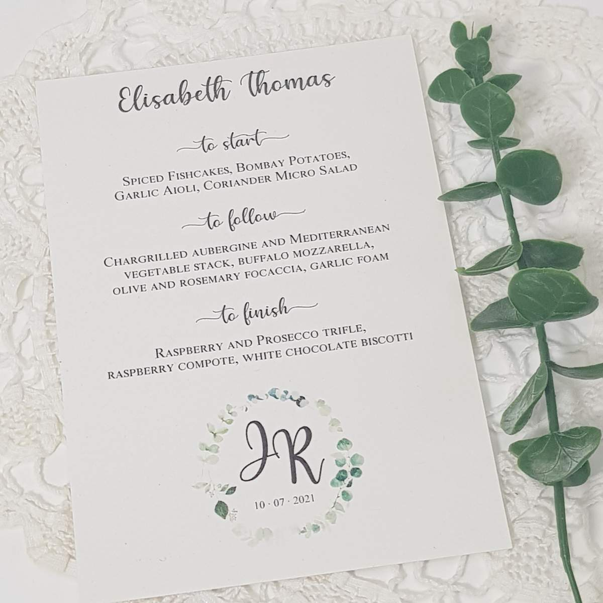 eucalyptus wedding menu card