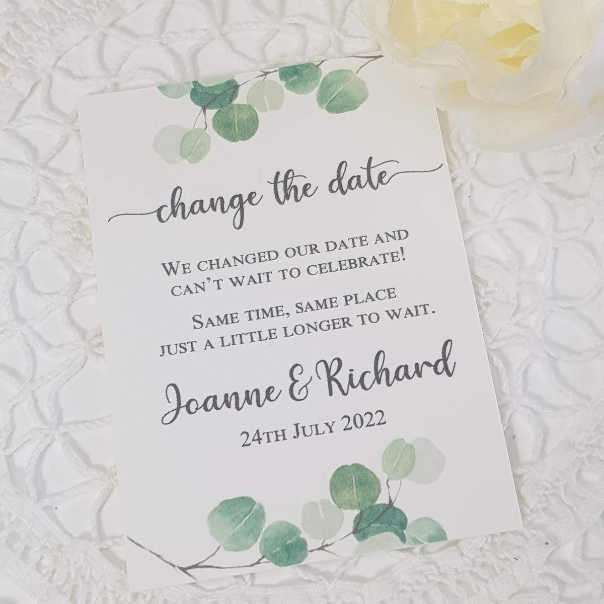 change the date card with eucalyptus greenery design