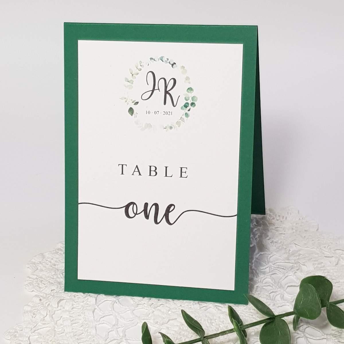 eucalyptus wedding table name card