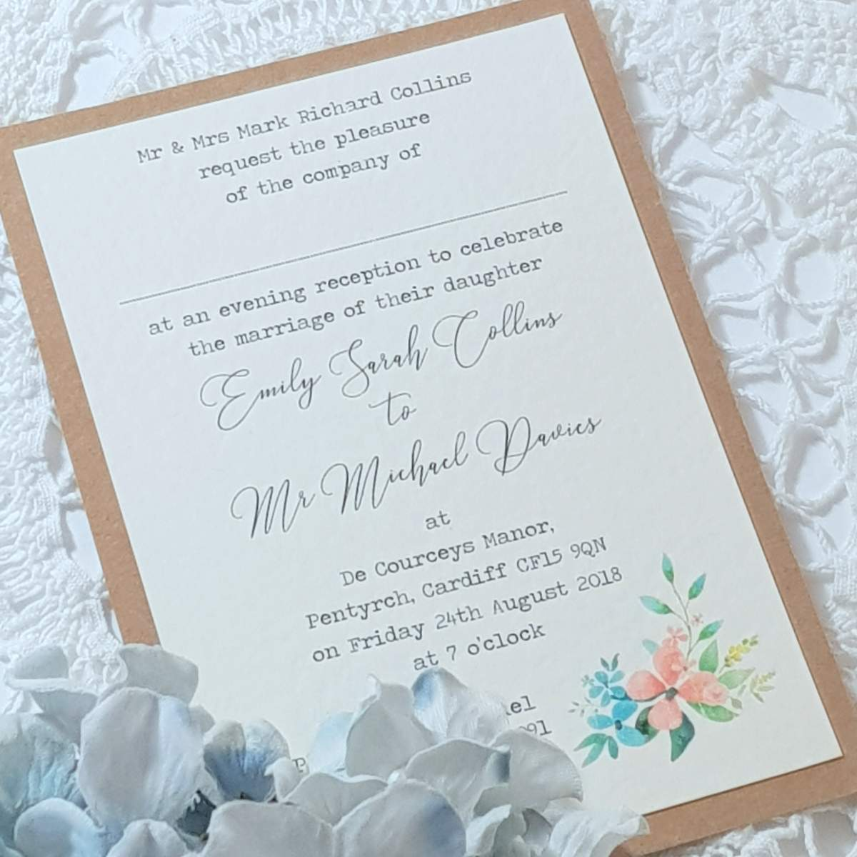 flat wedding evening invitations, recycled card with a wildflower design