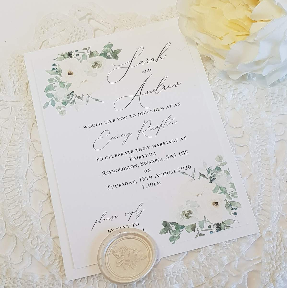 green and white evening invitation