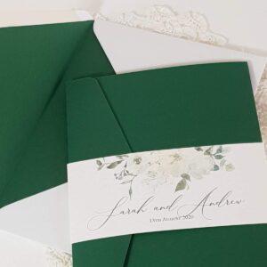 green and white pocket wedding invitation